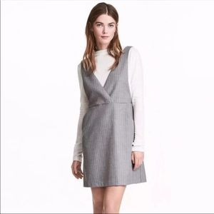 Gray striped overall dress